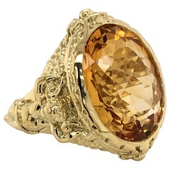 Citrine 14.7 Carat Yellow Gold Cocktail Ring