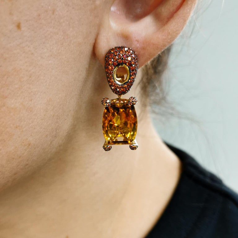 Citrine 16.74 Carat Orange Sapphires 18 Karat Yellow Gold Earrings For Sale 5