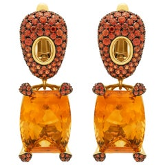 Citrine 16.74 Carat Orange Sapphires 18 Karat Yellow Gold Earrings