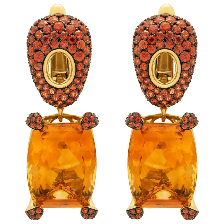 Citrine 16.74 Carat Orange Sapphires 18 Karat Yellow Gold Earrings For Sale