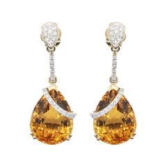 17.93 Carats Citrine Diamond Dangling Earrings
