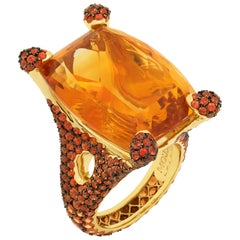 Citrine 33.27 Carat Orange Sapphires 18 Karat Yellow Gold Ring