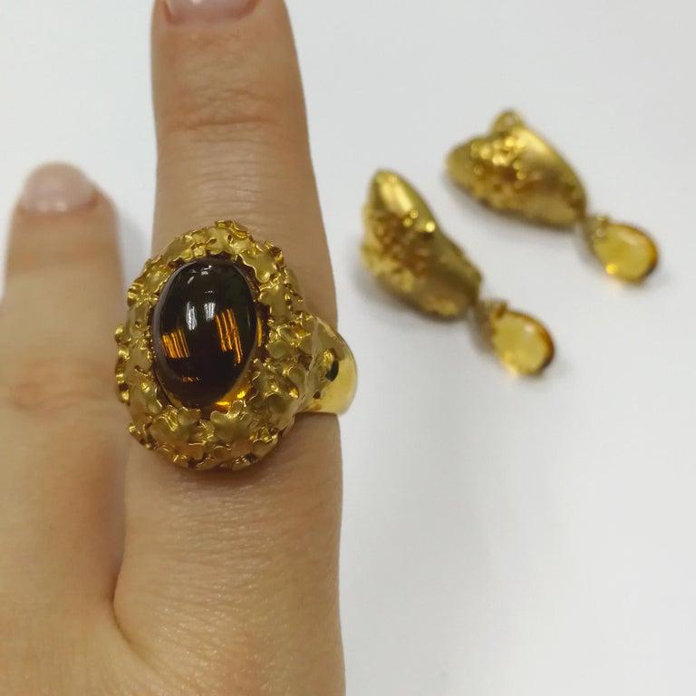 Citrine 5.97 Carat 18 Karat Yellow Gold Moss Ring For Sale 4