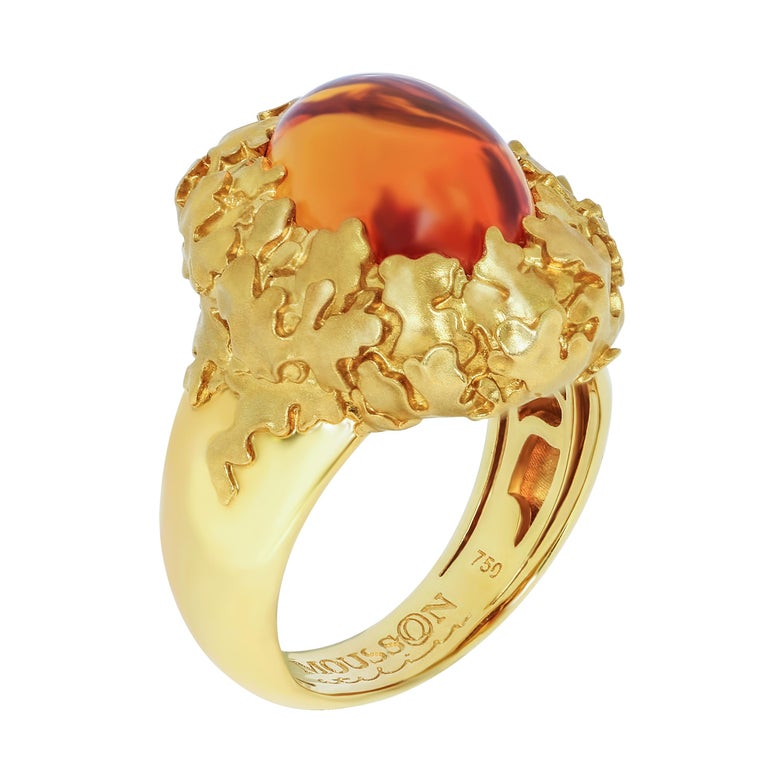 Citrine 5.97 Carat 18 Karat Yellow Gold Moss Ring Moss is an amazing plant that grows in moist forests, does not take root and has no leaves. Moss is diverse in its color. Our Ring is made in 18 Karat Yellow Gold. In the lumen of the moss, you can