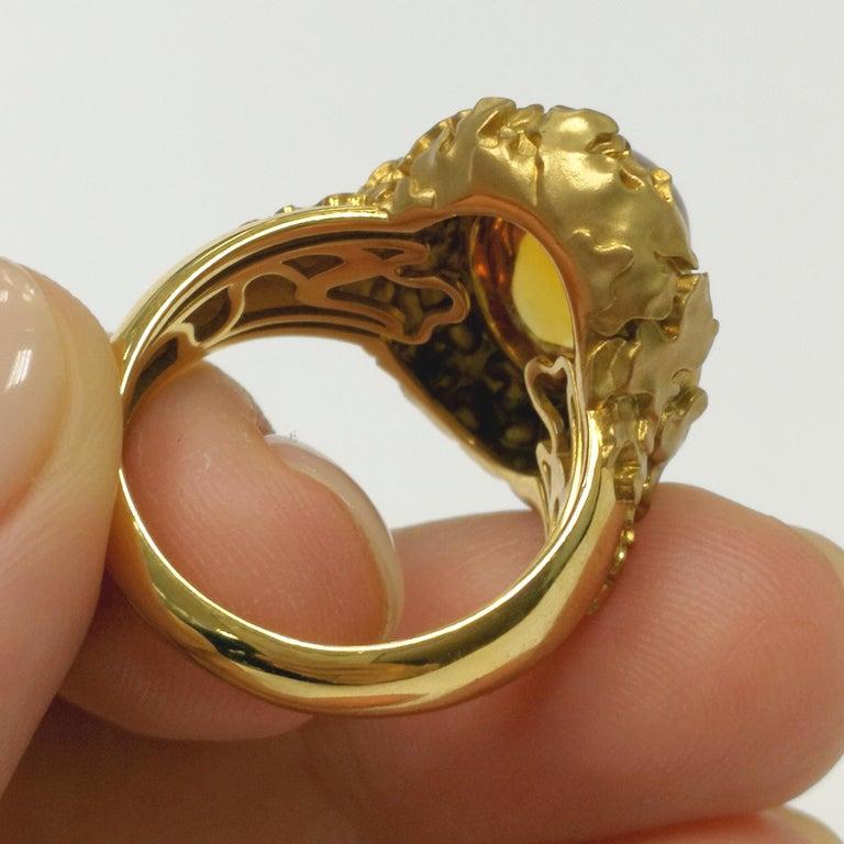 Women's Citrine 5.97 Carat 18 Karat Yellow Gold Moss Ring For Sale