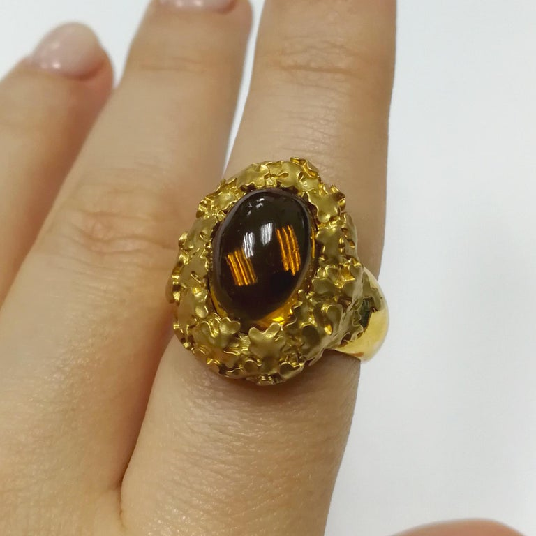 Citrine 5.97 Carat 18 Karat Yellow Gold Moss Ring For Sale 1