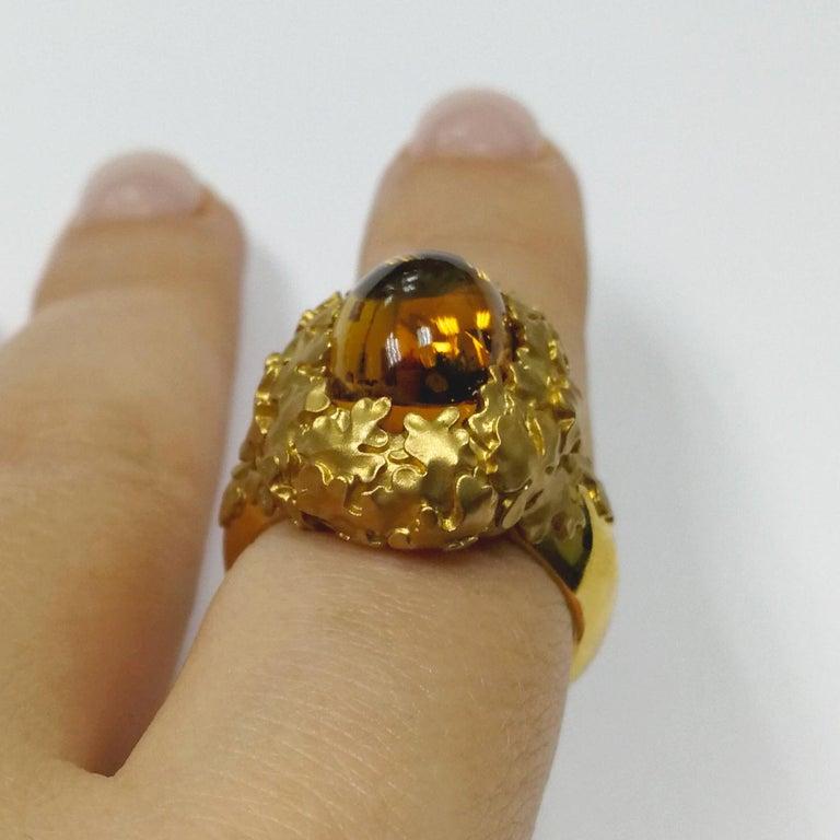 Citrine 5.97 Carat 18 Karat Yellow Gold Moss Ring For Sale 2