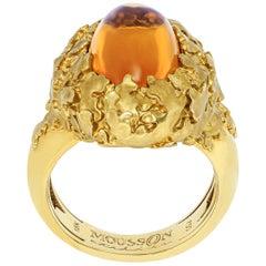 Citrine 5.97 Carat 18 Karat Yellow Gold Moss Ring