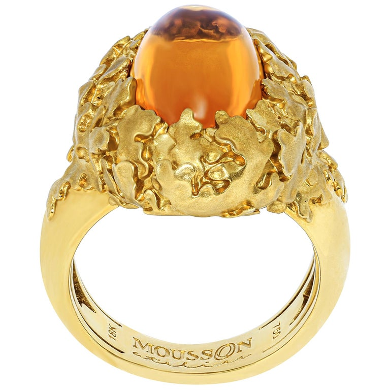 Citrine 5.97 Carat 18 Karat Yellow Gold Moss Ring For Sale