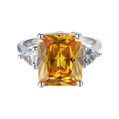Citrine 7.2ct Ring 14k White Gold
