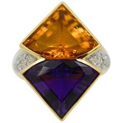 Citrine, Amethyst and Diamond 18 Karat Yellow Gold Ring