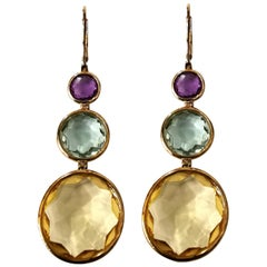Citrine Amethyst Aquamarine Rose Cut Yellow Gold Earrings Ear Pendants