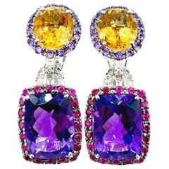 Citrine Amethyst Diamond and Sapphire 18 Karat White Gold Dangle Earrings