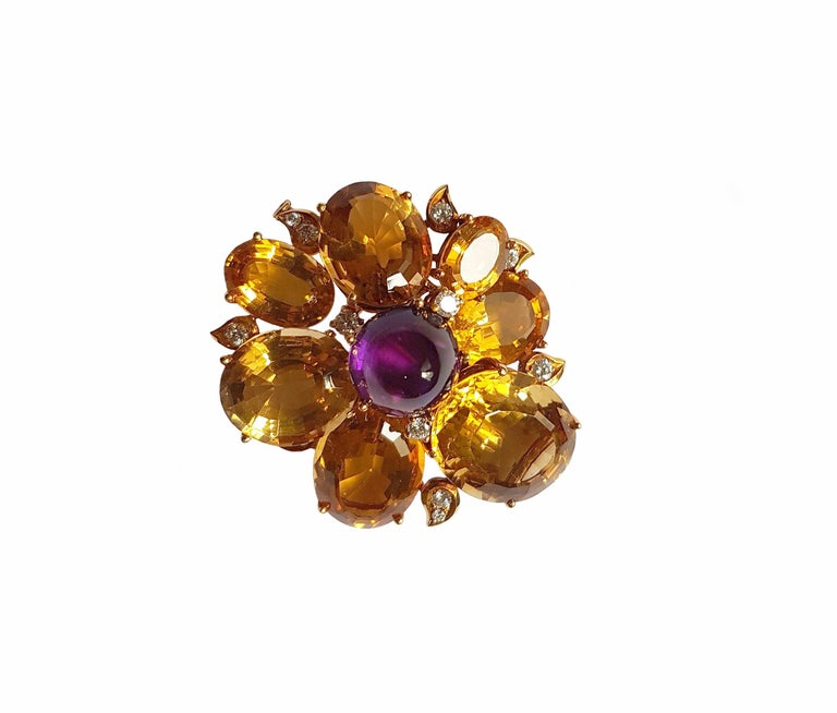 Modern Citrine Amethyst Diamond Gold Brooch, circa 1960 For Sale