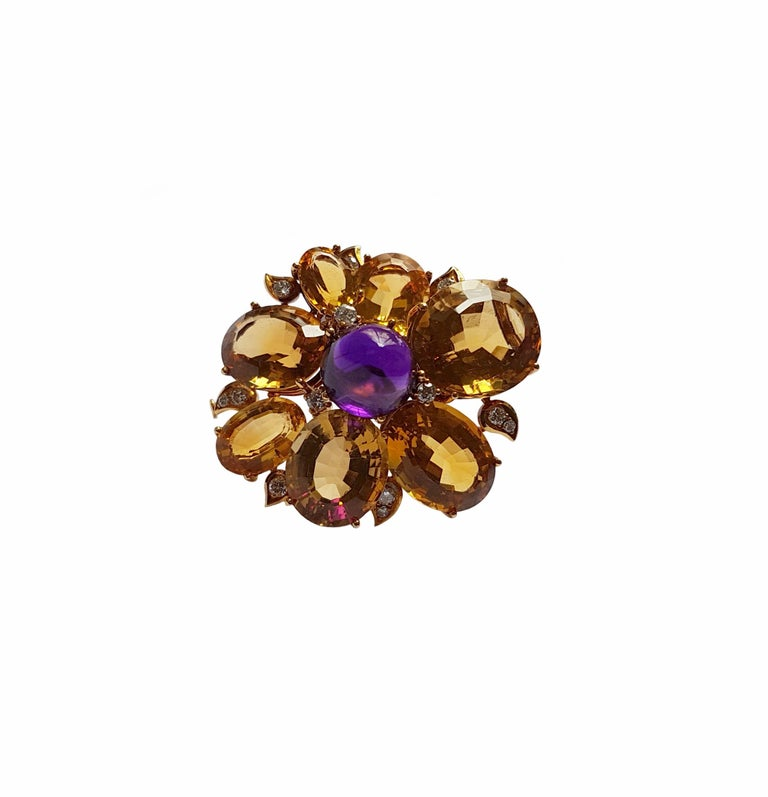 Citrine Amethyst Diamond Gold Brooch, circa 1960 In Excellent Condition For Sale In Berlin, DE