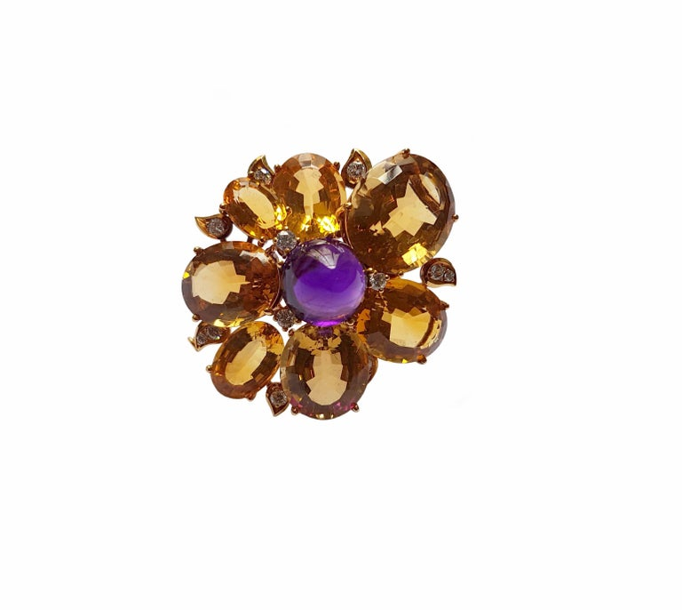 Women's Citrine Amethyst Diamond Gold Brooch, circa 1960 For Sale