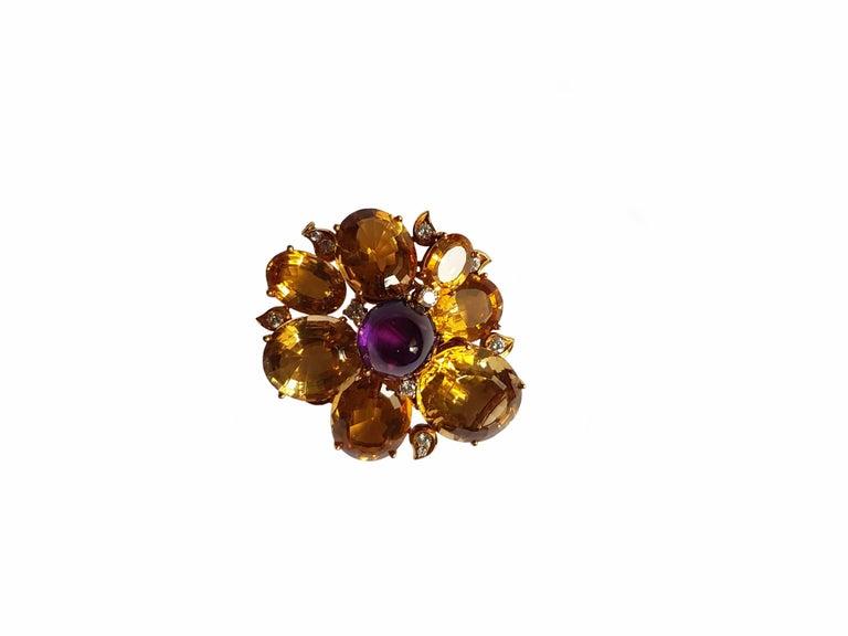 Citrine Amethyst Diamond Gold Brooch, circa 1960 For Sale 1
