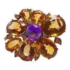 Citrine Amethyst Diamond Gold Brooch, circa 1960