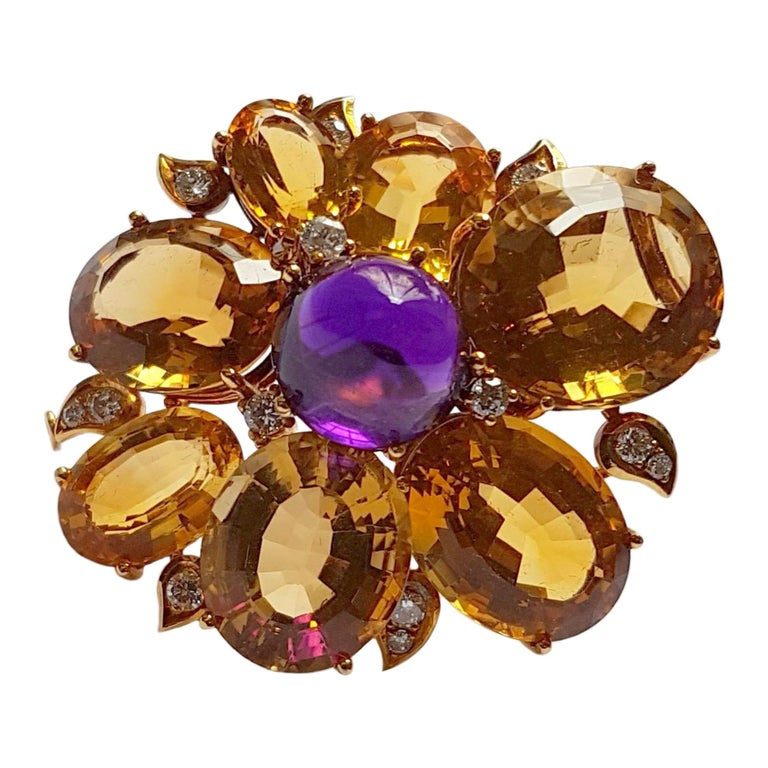 Citrine Amethyst Diamond Gold Brooch, circa 1960 For Sale