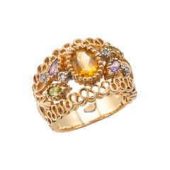 Citrine & Multi Gemstone Bombe Cocktail Ring 14 Karat Gold