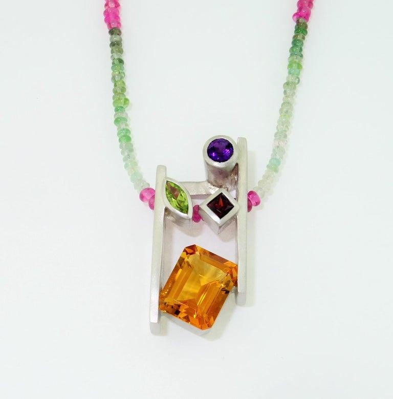 Contemporary Citrine Amethyst Peridot Garnet and Tourmaline Gem Necklace Fine Estate Jewelry For Sale