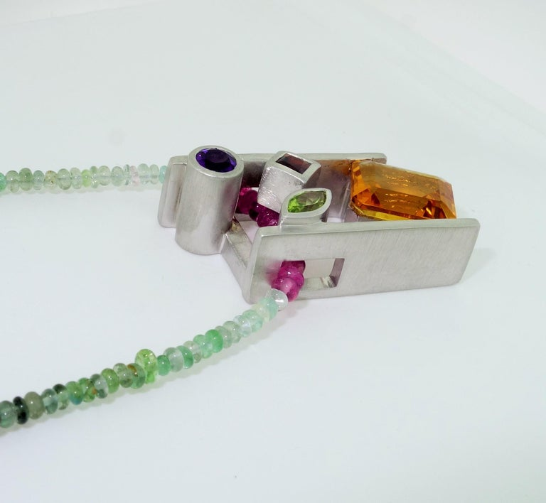 Citrine Amethyst Peridot Garnet and Tourmaline Gem Necklace Fine Estate Jewelry In New Condition For Sale In Montreal, QC