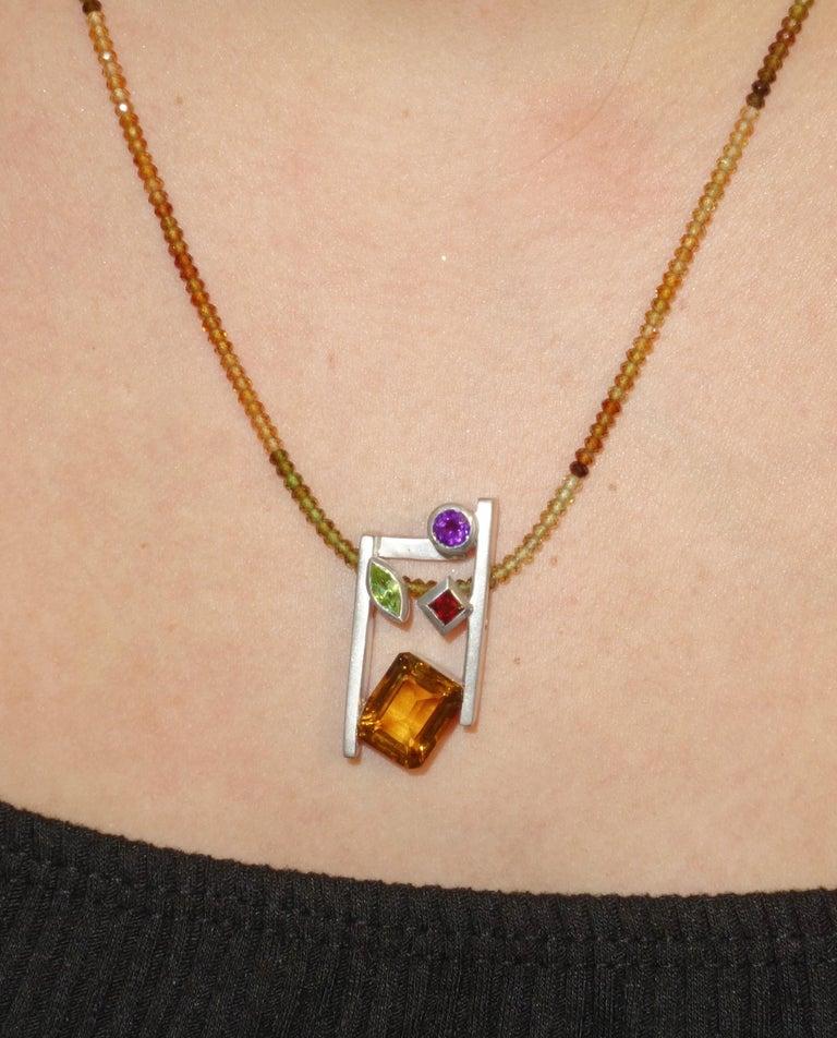 Women's Citrine Amethyst Peridot Garnet and Tourmaline Gem Necklace Fine Estate Jewelry For Sale