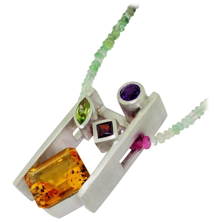 Citrine Amethyst Peridot Garnet and Tourmaline Gem Necklace Fine Estate Jewelry For Sale