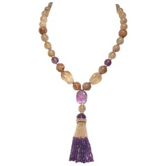 Citrine and Amethyst Beaded Necklace with 14 K Yellow Gold Magnetic Clasp