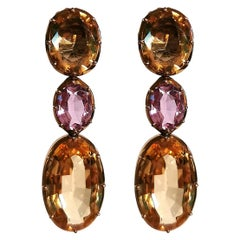 Citrine and Amethyst Yellow Gold Earrings