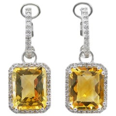 Citrine and Diamond 14 Karat White Gold Drop Earrings Halo Emerald Cut
