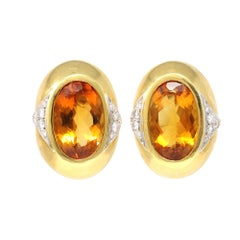 Citrine and Diamond Clip on Earrings c.1980 Set in 18k Gold