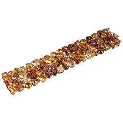Citrine and Diamond Cuff in Rose Gold