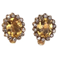Citrine and Diamond Ear Clips