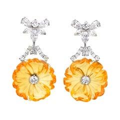 Citrine and Diamond Floral Earrings by Raymond Yard