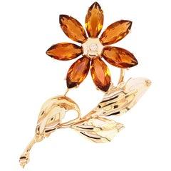 Citrine and Diamond Flower Brooch