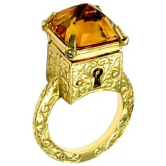 Citrine and Diamond Mystic Chamber Ring