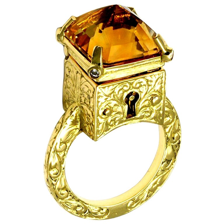 Citrine and Diamond Mystic Chamber Ring For Sale