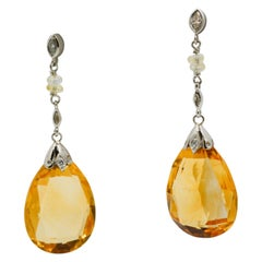 Citrine and Diamond Platinum Drop Earrings