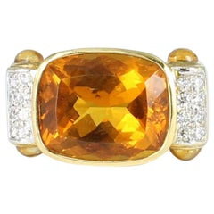 Citrine and Diamond Ring Set in 18 Karat Yellow Gold