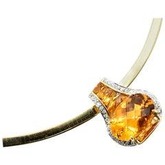 Citrine and Diamond Slide Pendant on Omega Necklace 14 Karat Yellow Gold