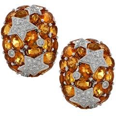 Citrine and Diamond Star Earrings