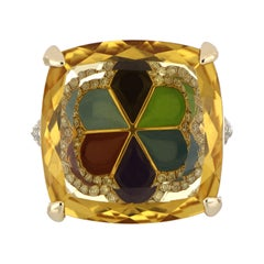 Citrine and Diamond Studded Ring in 14 Karat Yellow Gold