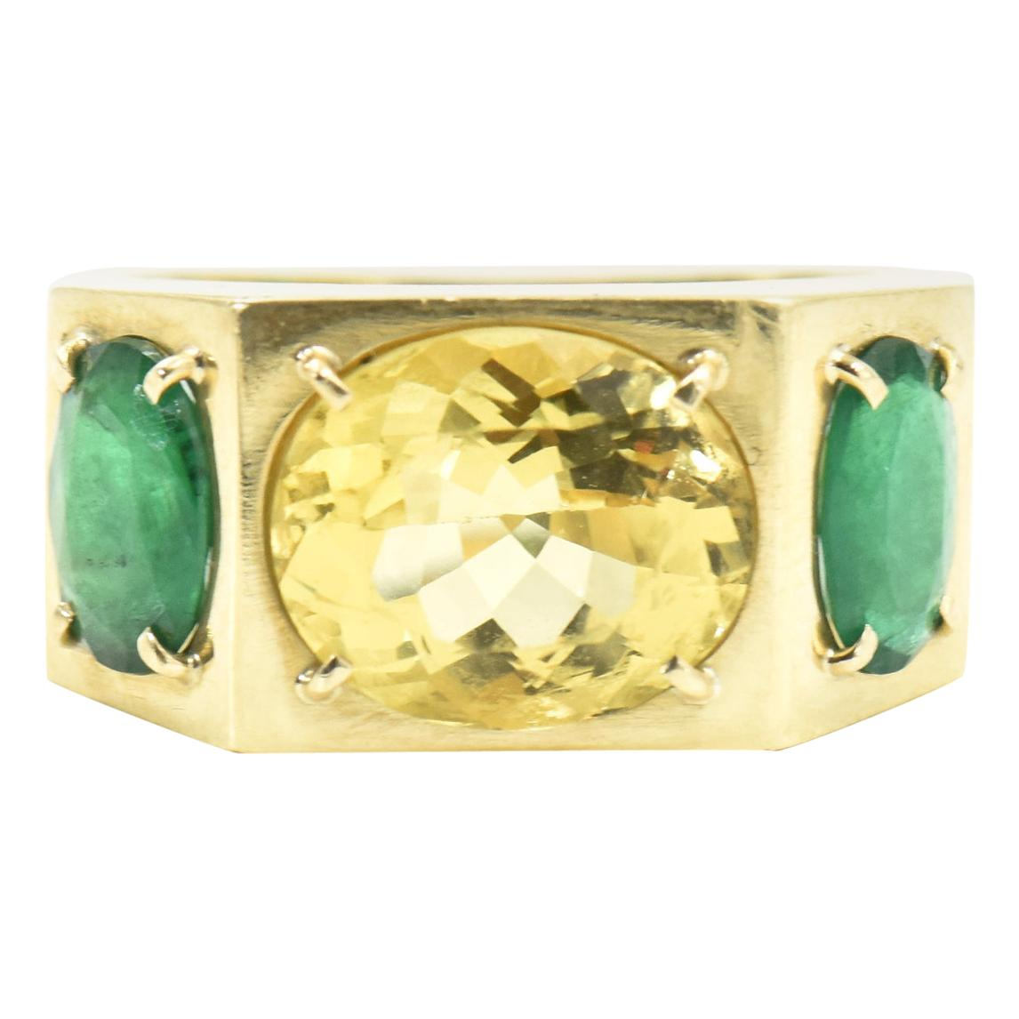 Citrine and Emerald Three-Stone Cocktail Band Ring