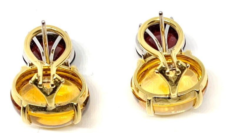 Artisan Citrine & Garnet Oval Cabochon, 18k Yellow, White Gold French Clip Drop Earrings For Sale