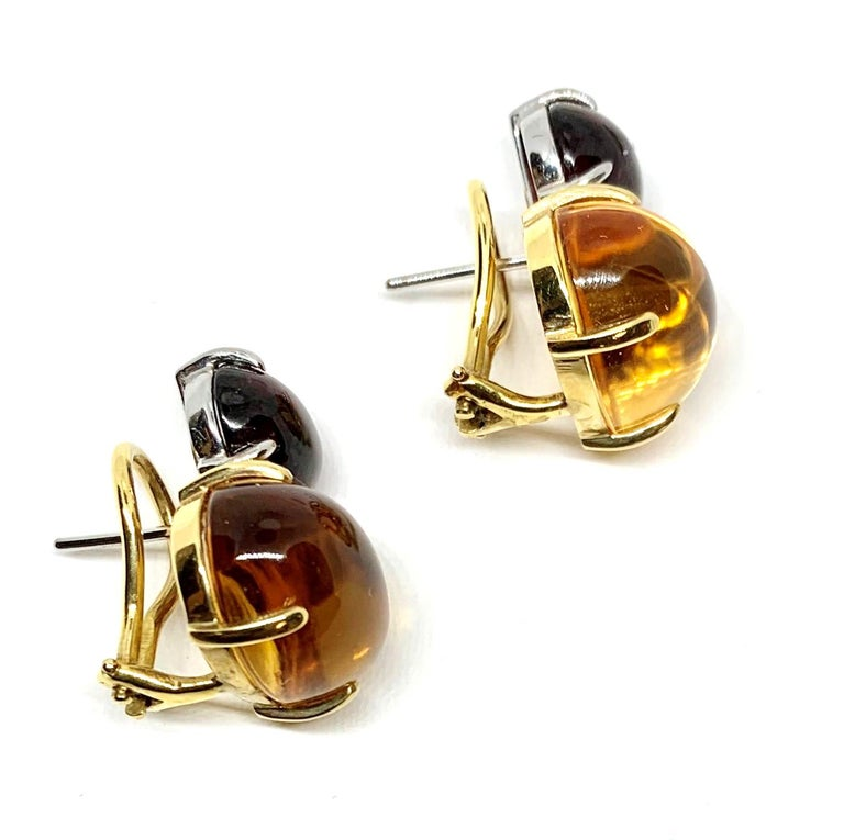 Citrine & Garnet Oval Cabochon, 18k Yellow, White Gold French Clip Drop Earrings In New Condition For Sale In Los Angeles, CA