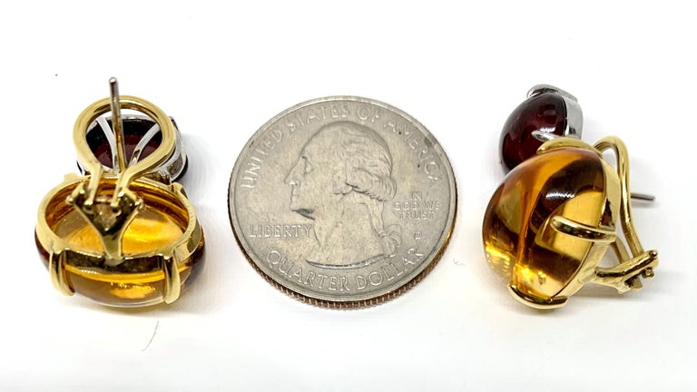Women's Citrine & Garnet Oval Cabochon, 18k Yellow, White Gold French Clip Drop Earrings For Sale