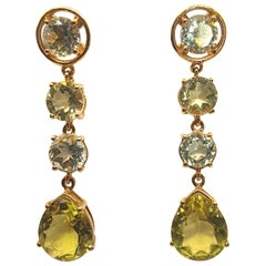 Citrine and Green Amethyst Gold-Plated Silver Earrings and 18 Karat Gold