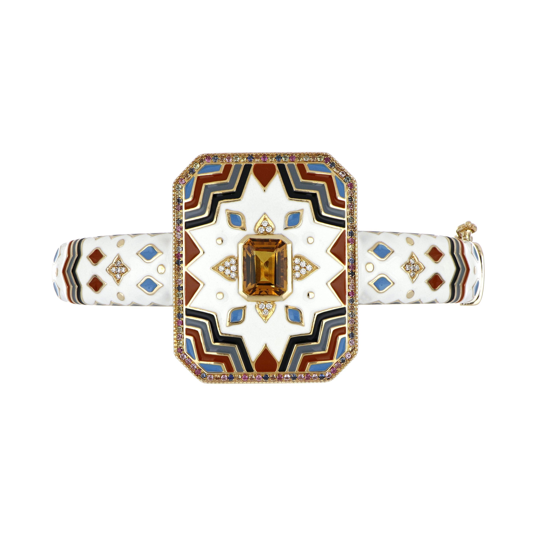 Citrine and Multi Sapphire Enamel Bangle with Diamonds in 14 Karat Yellow Gold
