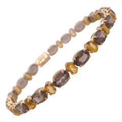 Citrine and Smokey Quartz Tennis Bracelet, Creative Style in Yellow Gold